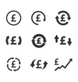 pound exchange icon set currency convert finance vector image vector image