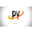 py p y letter logo with fire flames design and vector image vector image