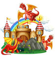 red dragon at the castle vector image vector image