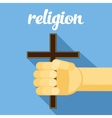 religion cross in hand faith vector image vector image