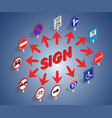 road sign concept banner isometric style vector image vector image