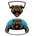 set grizzly bear mascot design vector image vector image