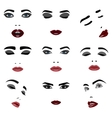 Set of beauty Woman Face Elements vector image vector image