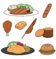 set of chicken product vector image