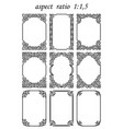 set rectangular frames in oriental style vector image vector image