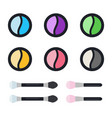 shadows in round cases with brushes icon flat vector image vector image