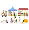 street food marketplace stands set image vector image