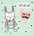 sweet bunny boy vector image vector image