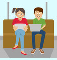 teenagers looking at their laptop and tablet vector image vector image