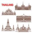 thailand bangkok architecture facades line icons vector image vector image
