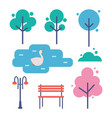 trees and bench icons set vector image