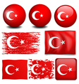 Turkey flag on different objects vector image vector image