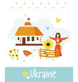 welcome to ukraine greeting card with cute girl vector image vector image