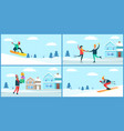 wintertime activities placards set vector image vector image