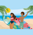 woman and man with surfboard and wearing bathing vector image vector image