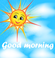 bright cartoon of a smiling sun in the sky vector image