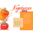 Vegetarian menu with watercolor vegetables vector image