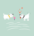 adorable puppies in love vector image vector image
