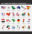 all maps world countries and flags set 1 vector image vector image