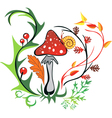 amanita with snail surrounded by colorful leaves vector image
