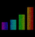 bright pixel bar chart icon vector image vector image
