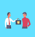 businessman boss giving suitcase to colleague vector image