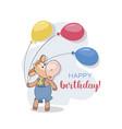 calf balloons happy birthday postcard cute vector image vector image