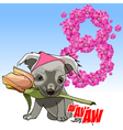 cartoon cute puppy with a flower in his mouth vector image vector image