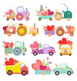 collection cute tractors and trucks full of vector image vector image