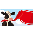 Cow and red ribbon vector image vector image