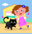 cute girl with cat vector image vector image