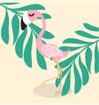 cute pink flamingo tropical vector image