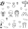 Cute set wedding in doodle vector image vector image