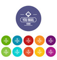 delivery mail icons set color vector image vector image
