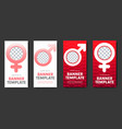 design of red and white web banners with gender vector image vector image