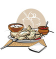 dumplings with sauce and sour cream vector image vector image