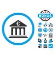 Euro Bank Flat Icon with Bonus vector image vector image