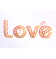 floral love text vector image vector image