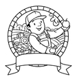 Funy farmer or gardener Coloring book Emblem vector image vector image