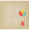 gift on colored balloons retro striped background vector image vector image
