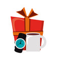 giftbox with male wristwatch and coffee mug vector image vector image