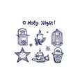 hand drawn winter set with candles lanterns vector image vector image