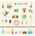 Happy Birthday party icons set vector image