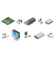 isometric computer hardware parts set vector image vector image