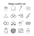 Magic icons set outline style vector image vector image
