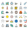 nautical and sailor filled outline icon set vector image vector image