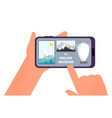 online museum hands holding smartphone with tour vector image vector image