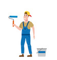 painter man is holding a paint roller in hand vector image vector image