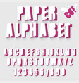 paper cut alphabet letters and numbers font vector image vector image