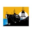 passenger cargo ship docking vector image vector image